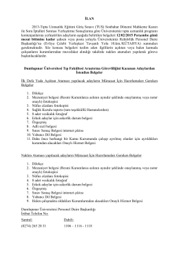 Dumlupınar Üniversitesi Tıp Fakültesi Araştırma Görevliliğini