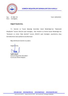 2015.02.10 İK-BŞK-44 İcra Kurulu duyurusu