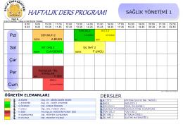 Sağlık Yönetimi Ders Programı