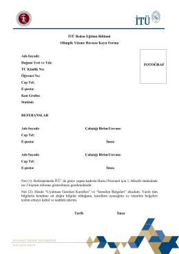 Havuz Kayıt Formu ve Açıklamalar - İTU Spor Kulübü