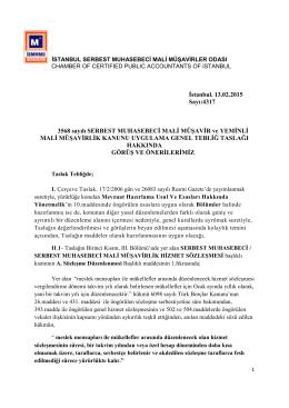 İstanbul. 13.02.2015 Sayı:4317 3568 sayılı SERBEST