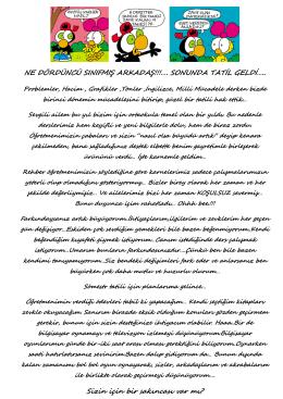 NE DÖRDÜNCÜ SINIFMIŞ ARKADAŞ!!!…. SONUNDA TATİL GELDİ