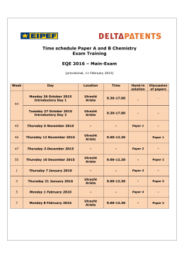 Time schedule Paper A and B Chemistry Exam