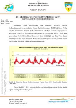 2014 yılı brewer spektrofotometresi ozon ölçümlerinin değerlendirmesi