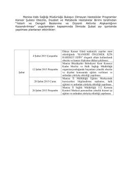 Manisa Halk Sağlığı Müdürlüğü Bulaşıcı Olmayan Hastalıklar