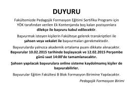 DUYURU - Eğitim Fakültesi