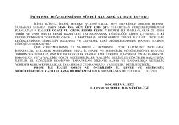 Ek Dosya - Çevre ve Şehircilik Bakanlığı