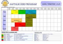 Kamu Yönetimi Ders Programı