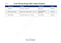 Uzun Metraj Kurgu Film Yapım Projeleri