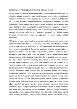 TOPLUMSAL HAREKETLER, PARTİLER VE