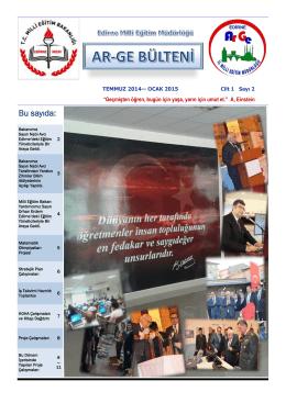 Edirne Milli Eğitim Müdürlüğü Temmuz 2014-Ocak 2015 AR