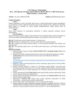 GTÜ Bilgisayar Mühendisliği 2014 – 2015 Öğretim Yılı Bahar