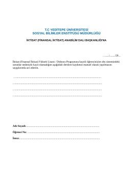 Manuel Kayıt Dilekçesi - Yeditepe Üniversitesi