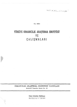 015 - Doğu Karadeniz Ormancılık Araştırma Enstitüsü Müdürlüğü