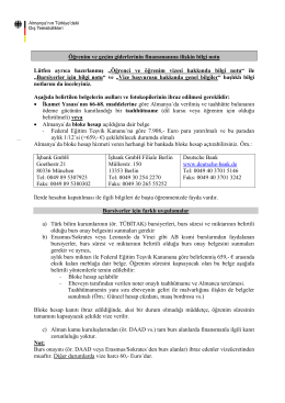 Öğrenim ve Geçim Giderlerinin Finansmanına İlişkin Bilgi Notu [pdf
