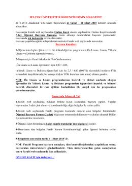 Farabi Değişim Programı Başvuruları 21.02.2015 18:50:00