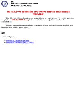 2014-2015 yaz dönemı staj - Adnan Menderes Üniversitesi