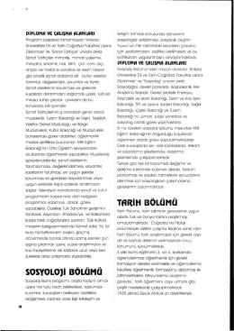 SOSYOLOJİ BÖLÜMÜ TflRİH BÖLÜMÜ - Ankara Üniversitesi Dil ve