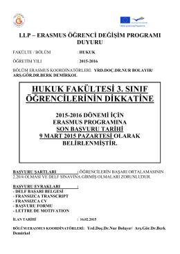 Hukuk Fakültesi Erasmus duyurusu
