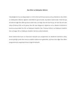 Slav Dilleri ve Edebiyatları Bölümü Yükseköğretim Kurulu Başkanlığı