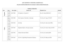 Afet Eğitimi ve Yönetimi ABD Ders Programı