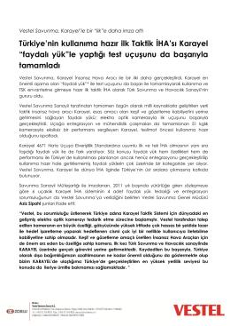 Türkiye`nin kullanıma hazır ilk Taktik İHA`sı Karayel