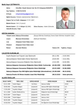 Melik Hayri ÇETİNKAYA - Milli Eğitim Bakanlığı