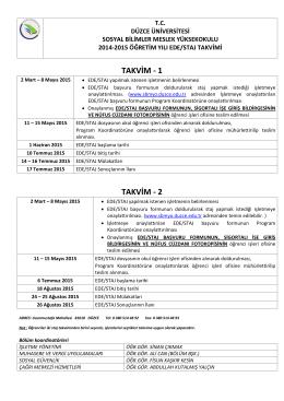 staj takvimleri - Düzce Üniversitesi Sosyal Bilimler Meslek