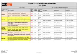 GENEL KATILIMA AÇIK PROGRAMLARI (EK-16.1)