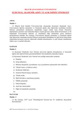 kurumsal akademik arşiv ve açık erişim yönergesi