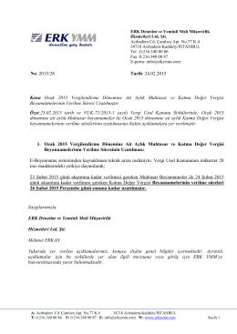 Ocak 2015 vergilendirme dönemine ait aylık Muhtasar ve
