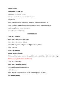 Toplantı Detayları Toplantı Tarihi: 4-5 Nisan 2015 Toplantı
