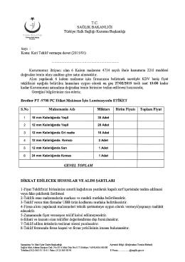 Konu: Kati Teklif vermeye davet (2015/91)