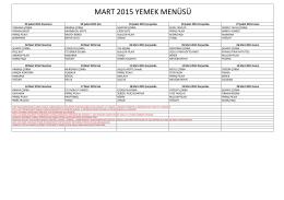 MART 2015 YEMEK MENÜSÜ