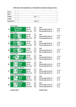 KOD Alarm Acil Aydınlatma ve Yönlendirme Sistemleri Sipariş Formu