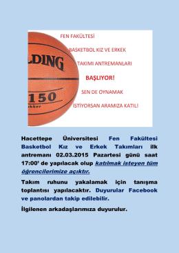 Fen Fakültesi Basketbol Kız ve Erkek Takımları Hakkında