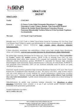 SİRKÜLER 2015/07 - Sena Yeminli Mali Müşavirlik Limited Şirketi