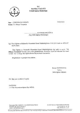 İl Milli Eğitim Müdürlüğü´nün 23/02/2015 tarih 1992679 sayılı 12