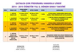 2. dönem ortak sınav programı