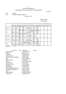 Sayı : 121/102 Konu : Haftalık Ders Dağıtım Programı 1 08:40 2 09