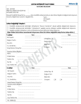 Lehdar Değişiklik Talep Formu