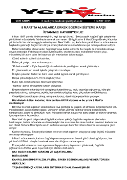 Yeni Kadin 8 Mart 2015 bildirisi