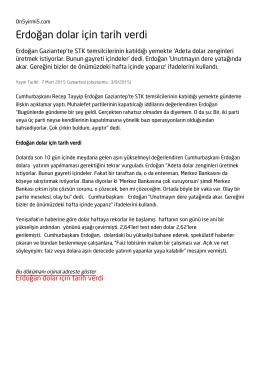 Erdoğan dolar için tarih verdi