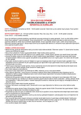 ERKEN KAYIT İNDİRİMİ - İstanbul Cervantes Enstitüsü