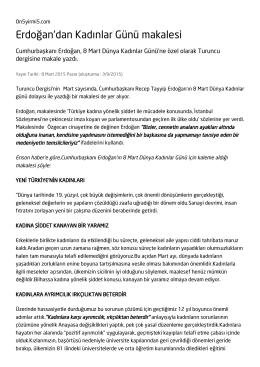 Erdoğan`dan Kadınlar Günü makalesi