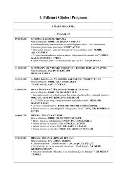 Sinemada Ruhsal Travma ve Psikeatri Kongresi Programı