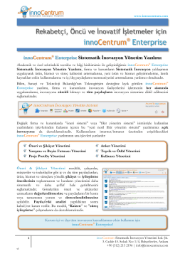 innoCentrum® Enterprise Sistematik İnovasyon Yönetim Yazılımı
