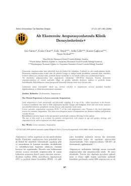 Alt Ekstremite Amputasyonlarında Klinik Deneyimlerimiz+