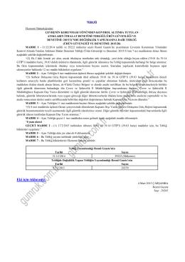 ürün güvenliği ve denetimi: 2015/3