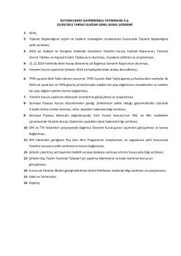 KUYUMCUKENT GAYRİMENKUL YATIRIMLARI A.Ş. 25/03/2015